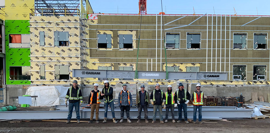 Canam Buildings Health and Safety Crew of the Month at the Willow Square project